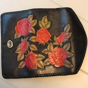 Vintage Leather Rose embellished wallet